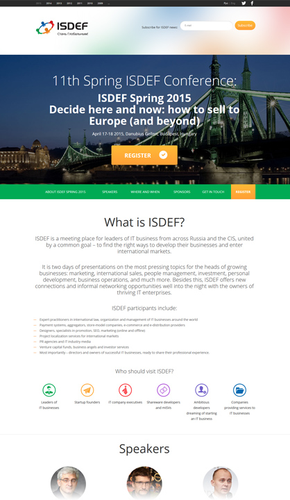 Creation of Landing page for ISDEF 2015