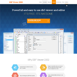 Developing of landing page for DBF Viewer 2000 software